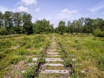 Old abondoned railroad. Old disused railway, overgrown with weeds in a green landscape Royalty Free Stock Image
