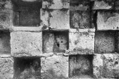 Old abstract surface of a stone wall monochrome tone Royalty Free Stock Photo