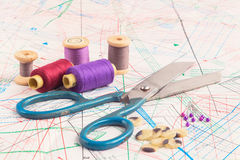 Old accessory of the tailor. With scissors, threads, pin and buttons Royalty Free Stock Photo