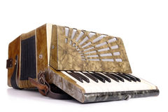 Old accordion. Studio shot of retro accordion over white background royalty free stock images