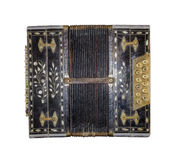 Old accordion isolated. Vintage harmonic. Retro button accordion. Musical instrument stock photo