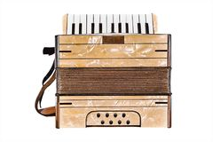 Old Accordion on the White. The Old Accordion over White Background stock photo