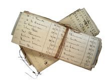 Old accounts. Isolated 1900 account pages folded and tied with string Royalty Free Stock Photos