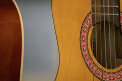Old acoustic guitar detail stock images