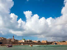 Old Acre, Israel. Panorama of the old city wall of Acre Royalty Free Stock Photography