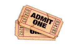 Old admit one torn used tickets isolated white background. Old admit one torn used tickets isolated white royalty free stock images