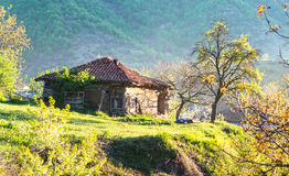 Old adobe house in the morning. Royalty Free Stock Photo