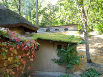 The old adobe house with a thatched roof Royalty Free Stock Photo