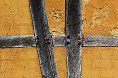 Old adobe wall of a half timbered house Royalty Free Stock Image