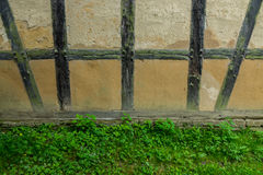 Old adobe wall of the half timbered house Stock Image