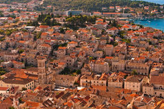 Old Adriatic island town Hvar. Croatia. Old Adriatic island town Hvar. High angle view. Popular touristic destination of Croatia Stock Image