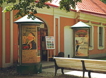 Old advertising posters. In Peter and Paul Fortress, Saint Petersburg, Russia - July 2016 Stock Photos
