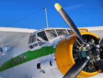Old aeroplane. Close up. Blue sky stock photo