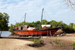 Old African boat on land Stock Images