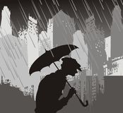 Old age. Silhouette of the oldster going under rain on background of the townhouses royalty free illustration