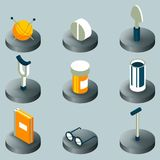 Old age color isometric icons. Vector illustration, EPS 10 Vector Illustration
