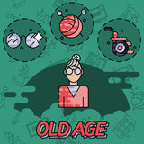 Old age flat concept icons Royalty Free Stock Image