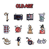 Old age flat concept icons Stock Image