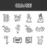Old age flat concept icons Royalty Free Stock Photos
