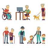 Old age people in different situations. Senior man and woman activities vector set. Old grandmother and grandfather walking illustration stock illustration
