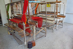 Old Age Weaving Hand Loom Machine from India Stock Photo