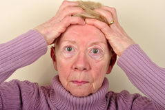 old age woman is very upset Stock Photography