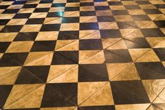 Old aged dirty granite checkerboard caro pattern.  Royalty Free Stock Photos