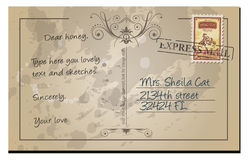 Old aged distressed retro of a postcard Royalty Free Stock Photo