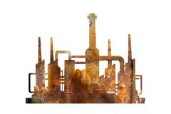 Old aged factory - corroded and rusty plant. Old aged factory - corroded plant as metaphor of abandoned and discontinued industry in bad and poor condition royalty free illustration