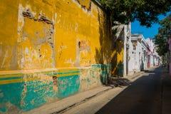 Old aged houses, Santa Marta, caribbean city in Stock Image