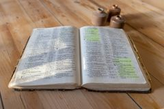 Old aged leather bound bible royalty free stock photo