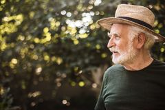 Old aged man standing in profile against background of trees royalty free stock photos