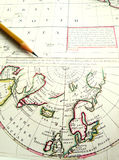 Old aged map of Arctic Circle & North Pole royalty free stock images