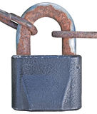 Old aged padlock rusty chain isolated Stock Image