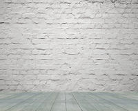 Old  aged white bricks wall with wooden floor background Stock Images