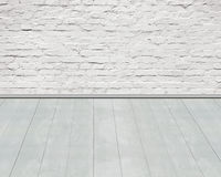 Old  aged white bricks wall with wooden floor background Stock Photos