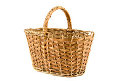 Old aged wicker basket on white Royalty Free Stock Image