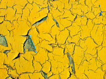Old aged yellow painted surface.Background. Royalty Free Stock Photo