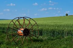 Old agricultural equipment wheel Stock Photos