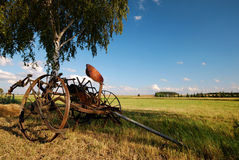 Old agricultural fertilize machine,. Old agricultural machine, fertilizer, recultivation Royalty Free Stock Photography