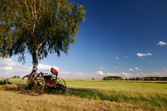 Old agricultural fertilize machine wide angle. On countryside, old agricultural machine Stock Photos