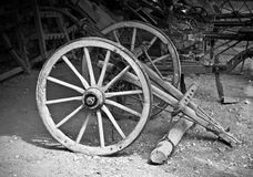 Old agricultural tools. And machines in black and white monochrome Royalty Free Stock Photography