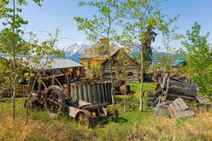 Old agricultural tools on display at an outdoor museum in northern canada Stock Photos