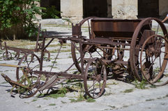 Old agriculture gear. Ancient agriculture gear, seeder,plow, standing in Hierpolis, Pamukkale, Turkey Royalty Free Stock Photo