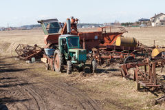 Old agriculture machines Stock Images