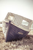 Old aground ship at beach Stock Photography