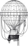 Old Air Balloon. Vintage hot air balloon with ladder  on white Royalty Free Stock Photos