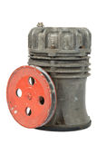 Old air compressor with pulley (isolated) Royalty Free Stock Photos