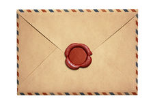 Old air letter envelope with red wax seal isolated Royalty Free Stock Images