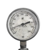 Old air pressure gauge isolated. Royalty Free Stock Images